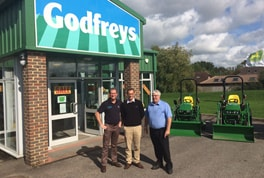 Peter Bateman, Director, Godfreys Golf & Turf (left), Tom Kenny, Group Course Manager, Mytime Active (centre) and Keith Rogers, Area Sales Manager, Godfreys (right).