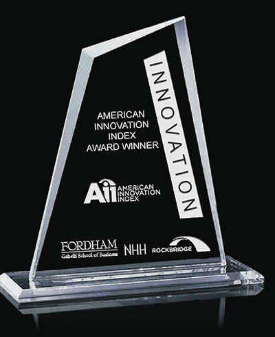 Aii Innovation award trophy against black background