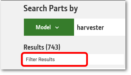 Filter results icon circled at the bottom of the parts lookup component