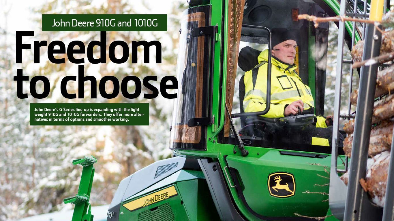 John Deere forest machine and operator