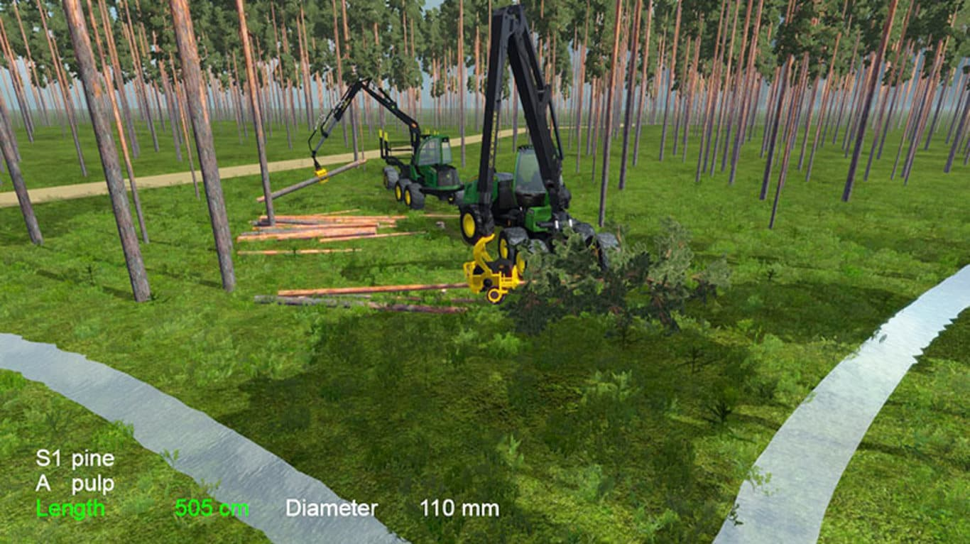 John Deere Forestry simulator with a forwarder and harvester working together