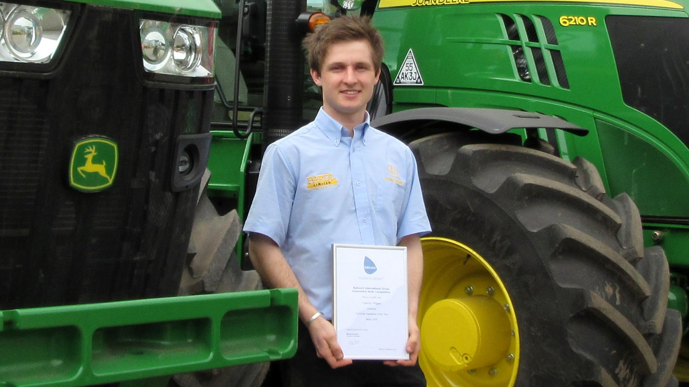 Babcock Service Technician Apprentice of the Year Charlie Phipps of John Deere's Midlands dealer Farol Ltd.