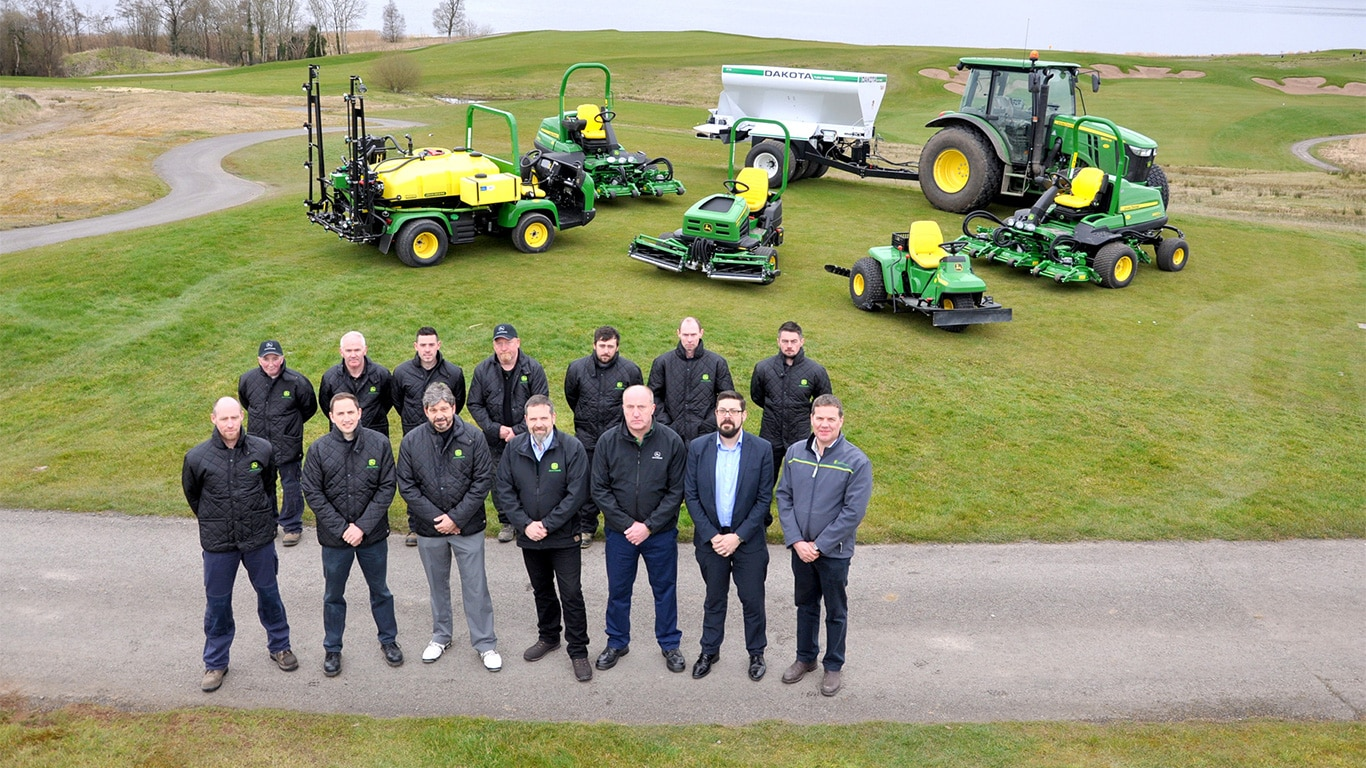 Lough Erne Golf Resort in Northern Ireland has recently invested in a fleet of new John Deere golf course maintenance machines supplied by Johnston Gilpin & Co.