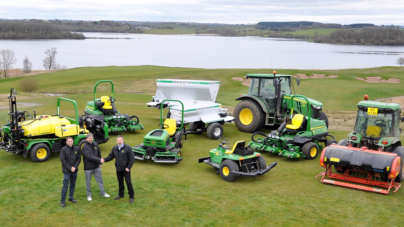 Left to right: Greenkeeper superintendent Sean Reilly and co-owner Mark Ward of Lough Erne Golf Resort with Ricky Neill of John Deere dealer Johnston Gilpin.