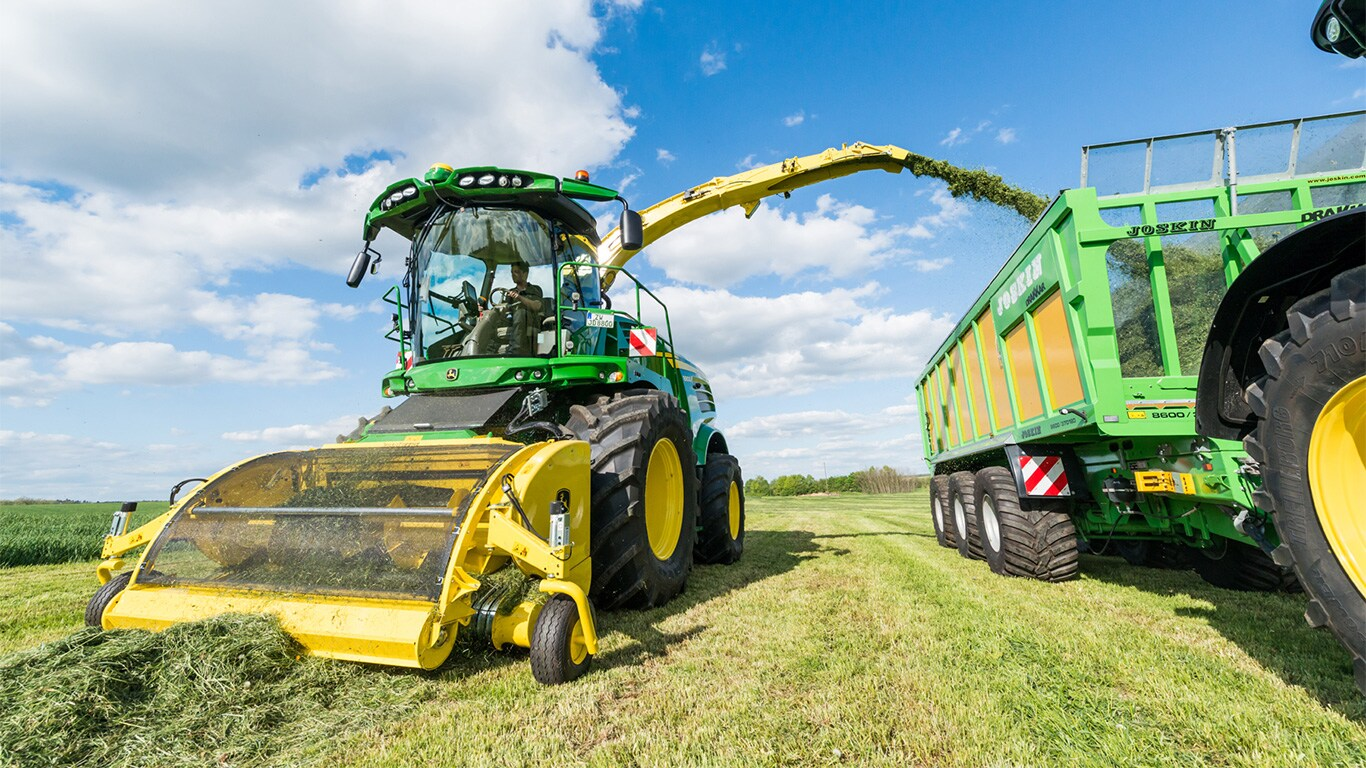 John Deere's 8800i self-propelled forage harvester with HarvestLab constituent sensing.