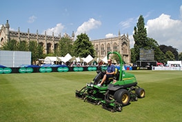 Cheltenham College's head groundsman Christian Brain on the new John Deere 7700A cylinder mower, during the 2016 Brewin Dolphin Cheltenham Cricket Festival.