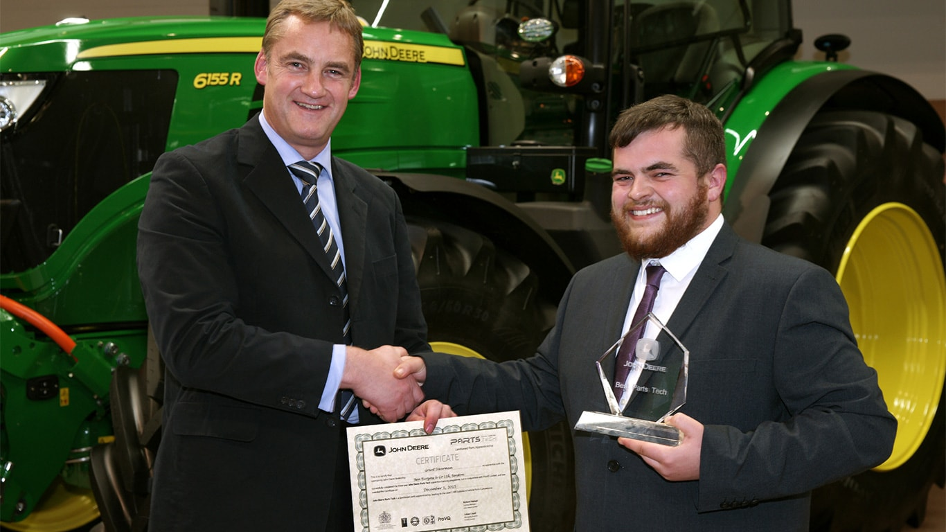 John Deere parts apprentice of the year 2015 Grant Stearman with training centre manager Richard Halsall.