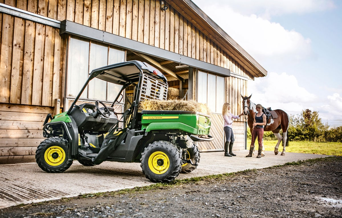 The new John Deere XUV 590i Gator 4x4 utility vehicle is also available in a four-passenger S4 version.