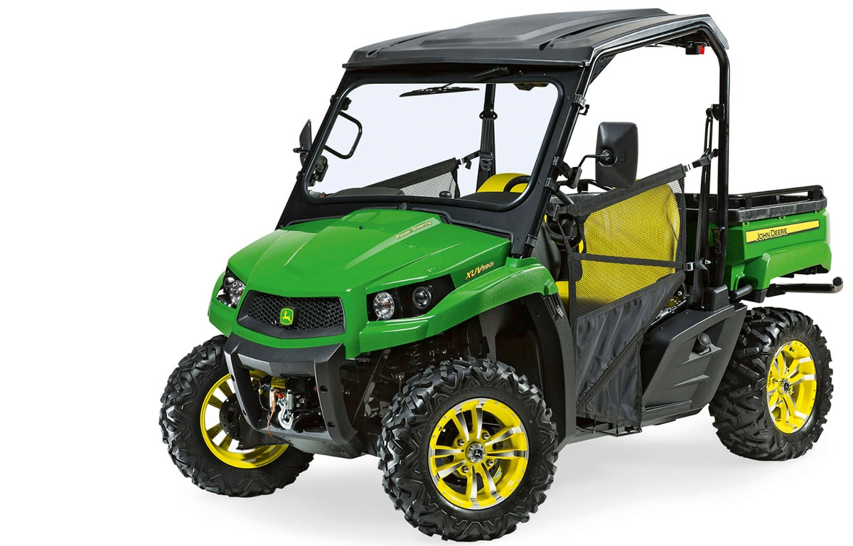 Features of the new John Deere XUV 560 mid-size Gator utility vehicle include independent four-wheel suspension and multiple attachment options.