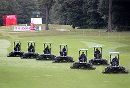 Part of Woburn Golf Club's John Deere fairway mower fleet preparing for the 2016 Ricoh Women's British Open (photo supplied by Tillers Turf Company Ltd).
