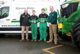 (Left to right) Masons Kings general manager Peter Endacott, apprentice technicians Cameron Merryfield and Oliver Cowling, and managing director Roger Prior.