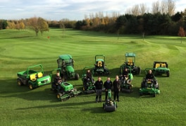 (Front l to r): Head greenkeeper Robert Welford, Tony Jenkins of Adamsons and club proprietor Niel Strawson, with the greenkeeping staff and their new fleet.