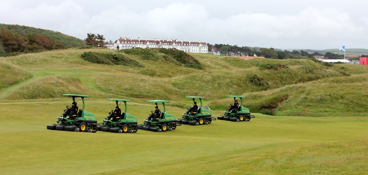 John Deere fairway mowers getting the Trump Turnberry course ready for the 2015 Ricoh Women's British Open.