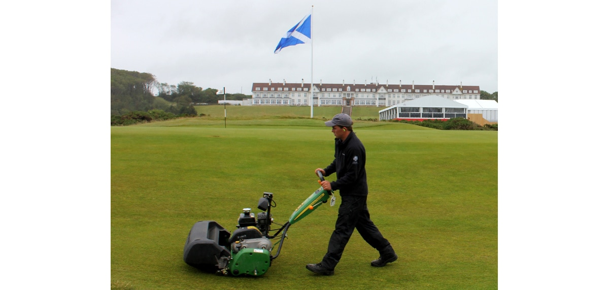 A John Deere walk-behind mower at work at Trump Turnberry in Ayrshire.