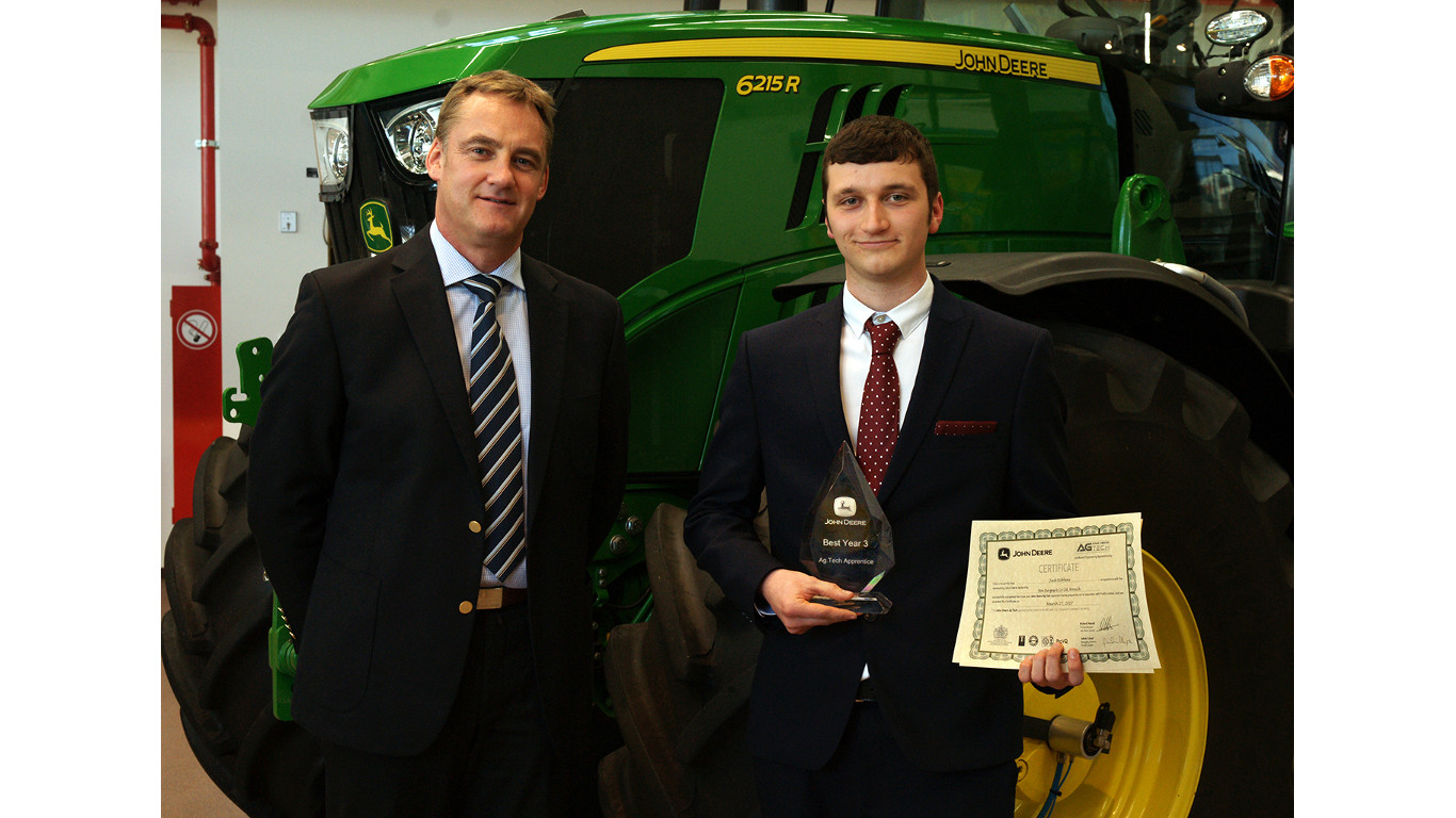 John Deere Ag Tech Apprentice of the Year 2016 Jack Robbens of Ben Burgess with John Deere training centre manager Richard Halsall.