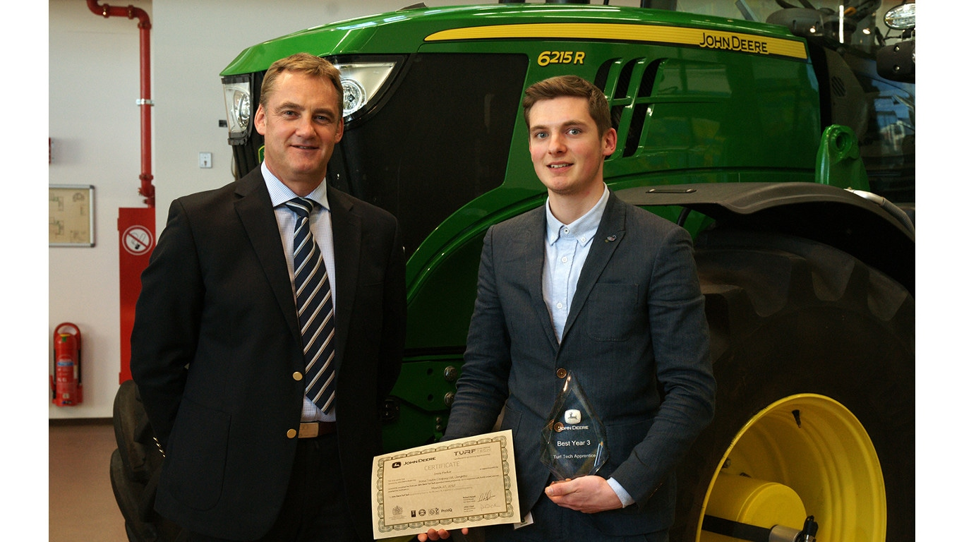 John Deere Turf Tech Apprentice of the Year Lewis Parker of Mona Tractors with John Deere training centre manager Richard Halsall.