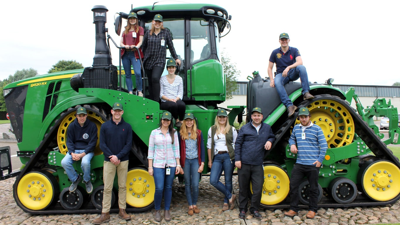 The 2016 journalism training award course members at John Deere's UK headquarters.