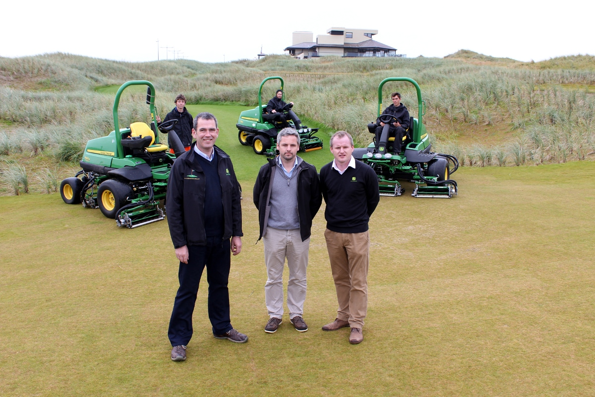 Dealer Michael Weldon, Ballybunion course manager John Bambury and Brian D'Arcy of John Deere, with the new 7200A and 7500A PrecisionCut mowers.