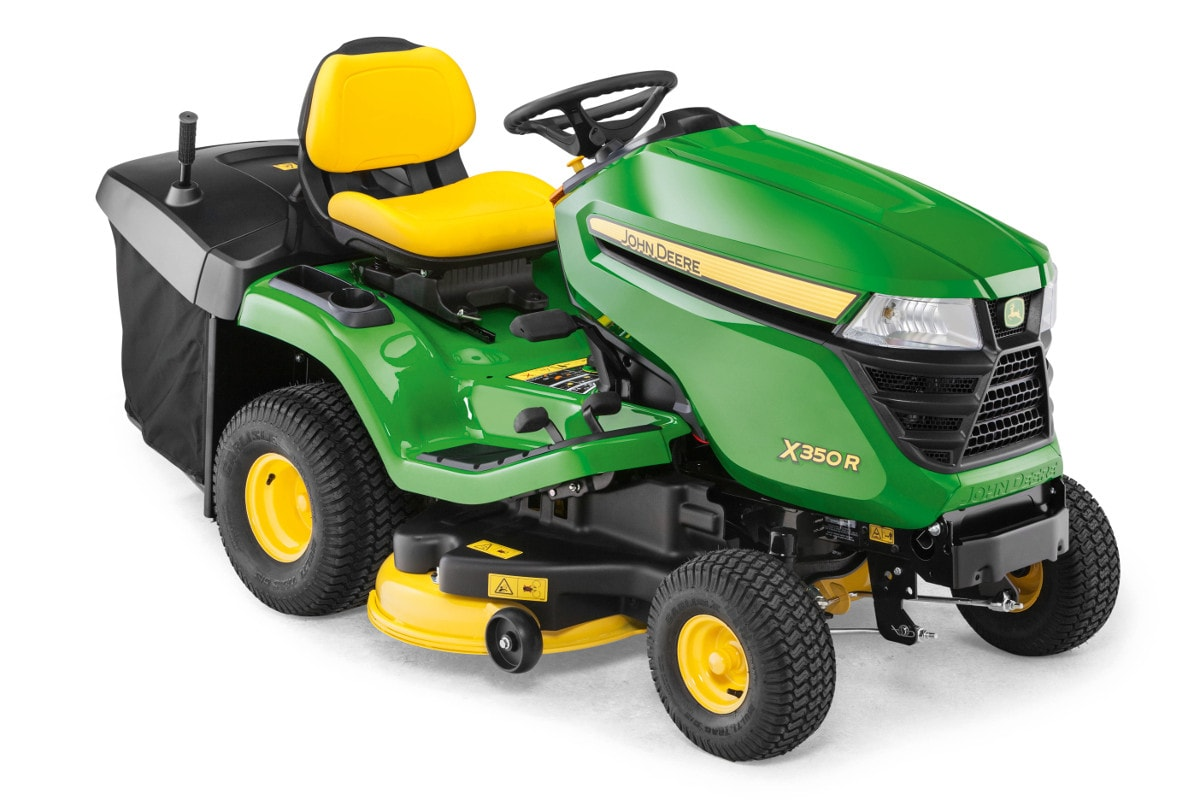 John Deere's X350R lawn tractor, awarded Best Buy status by BBC Gardeners' World Magazine.