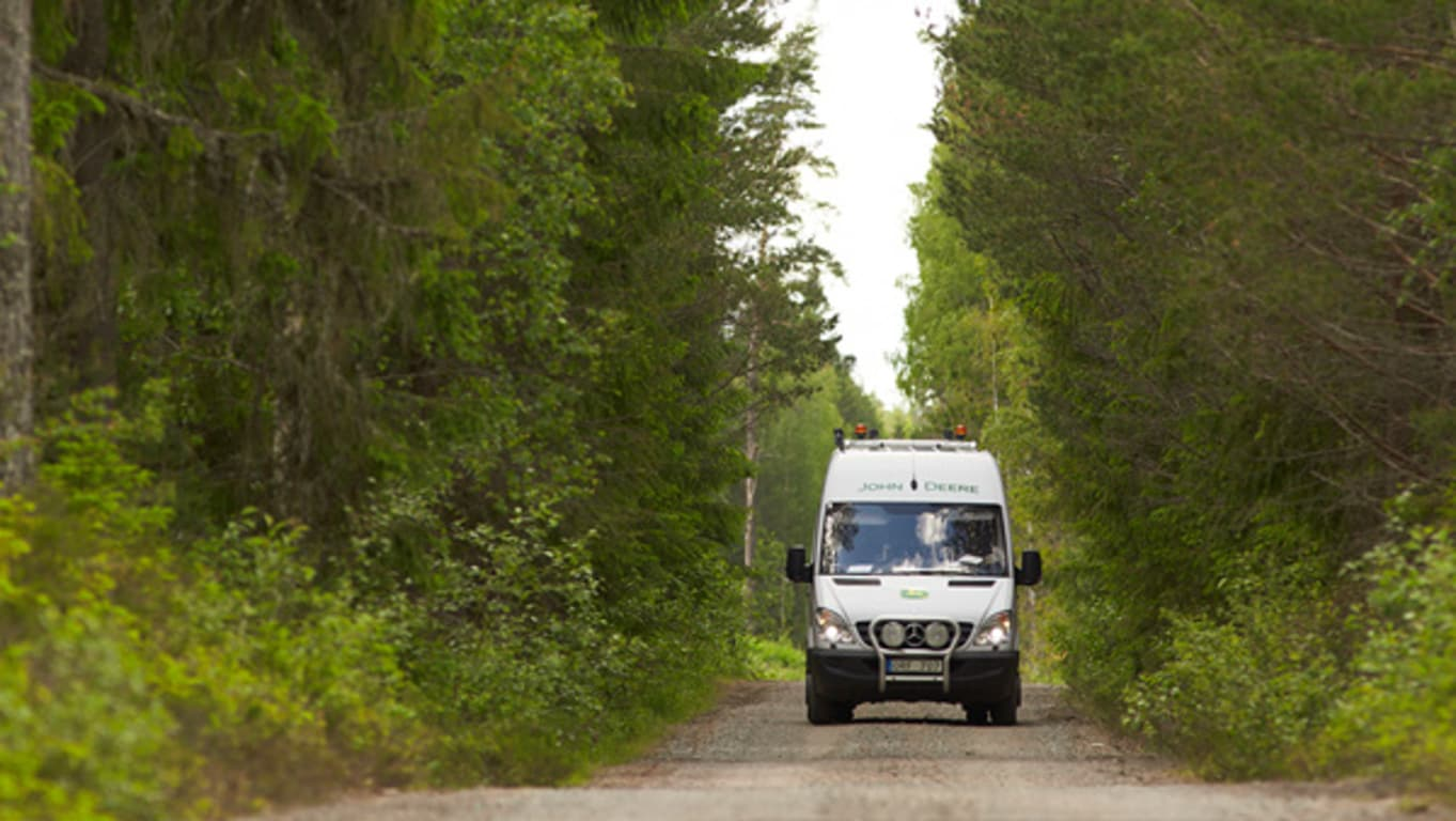 Service van in a forest.
