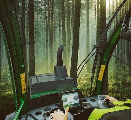 View to the work site from a John Deere forest machine