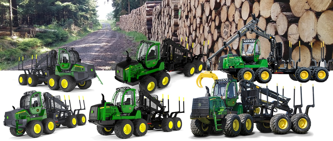 John Deere forwarders and a forest road with log piles